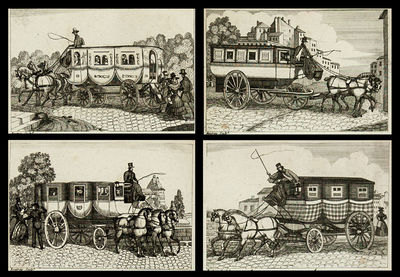 51 cm x 24.5 cm, Folding brochure, with 4 engravings of carriage models in use. Bound with: Tarif de...