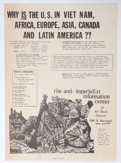 Washington DC: Anti-Imperialist Information Center, 1972. 10x14 inch poster, very good, announcing a...