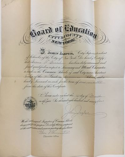 New York: New York Board of Education, 1894. unbound. very good(+). Lithograph. 17