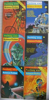 """The Magazine of Fantasy and Science Fiction February & March 1971(The Faceless Man); July & August 1972 (Brave Free Men); May & June 1973 (The Asutra) -six (6) digests featuring the complete Jack Vance """"Durdane"""" Trilogy, -(in 6 separate F & SF mags)-"""