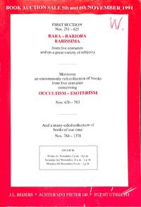 Sale 5-6th November 1991: Rara, Rariora, Rarissima, from 5 Centuries and a  Great Variety of Subjects, Occulism, Esoterism, a Many-Sided Collection of  Books of Our Time.