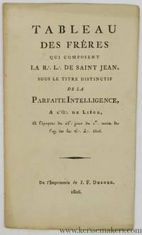 Tableau des frères qui composent la R:. L:.  de Saint Jean, sous le titre distinctif de la...