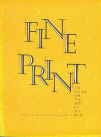 image of Fine Print: A Newsletter for the Arts of the Book. Vol. 13, No. 4, October 1987