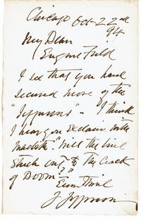 image of AUTOGRAPH LETTER SIGNED by the 19th Century American Actor JOSEPH JEFFERSON to the author_poet EUGENE FIELD.