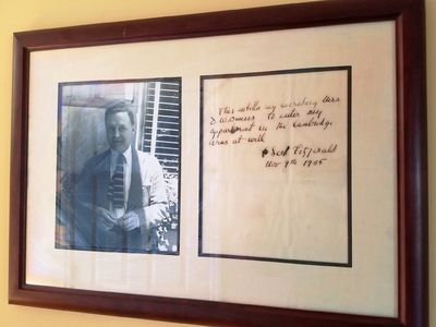 9 November 1935. Framed Letter. A couple of ink splotches, wrinkling to letter. Overall Near Fine an...