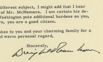 """27/12/1960. Dwight D. Eisenhower """"I doubt if you realize just how much you have helped me carry on..."""