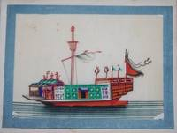 Album of a Dozen Chinese Watercolors of Ships and Boats on Pith Paper