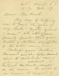Elizabeth Cady Stanton Writes a letter in her Own Hand Concerning her New Autobiography, 1898