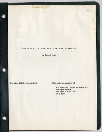 New York: The American Theatre for Poets, Inc., 1961. ,-7 leaves. Quarto. Mimeographed typescript, b...