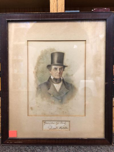 A full color portrait of Daniel Webster, with his inscription and signature presumably upon same pag...