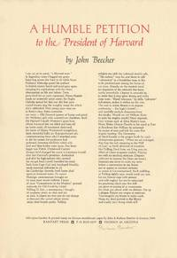 A Humble Petition to the President of Harvard