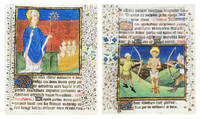 Illuminated leaf from a Book of Hours with St. Nicholas and St. Sebastian.