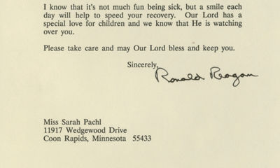 """5/1/93. Ronald Reagan Suggesting that God will take care of her, he offers comfort: """"Our Lord has ..."""