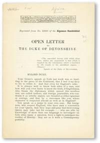Open Letter to the Duke of Devonshire