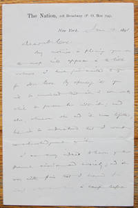 "Autograph Letter Signed of Wendell Phillips Garrison, editor of ""The Nation,"" written to Major-General Jacob Dolson Cox, concerning their fears for their sons volunteering for the Spanish-American War, 1898"