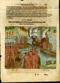 "Hand Colored Engraving from a German Language Edition from De Bry's ""Grand Voyages to the Americas [ca. 1591]: Plate XXXII, How a ship came from Brickioka.."