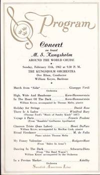 image of 1962 Souvenir Program from a Concert on Board the Crusie Ship M. S.  Kungsholm