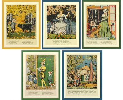 1924. Five offset color prints, 7 x 9.5 inches, nicely matted in different, complementary colors. Sm...