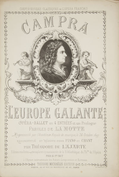 Paris: Théodore Michaëlis , 1880. Large octavo. Blue-green printed wrappers with portrait of Campr...
