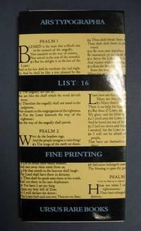 ARS TYPOGRAPHIA.  List 16, Fine Press Books