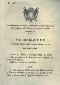 co quale si diminuisce il ruolo numerico dell\'archivio delle finanze ed uniti in Milano.