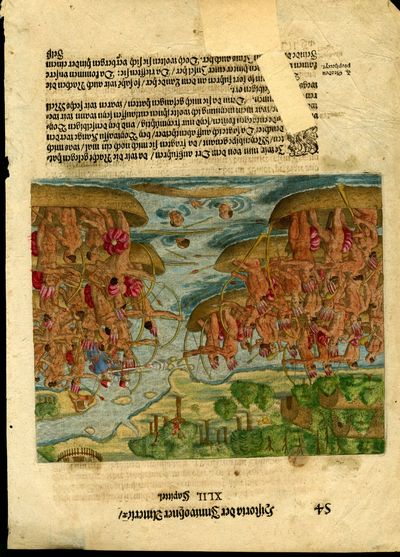 1591. Very Good Condition. A single sheet from an early German edition of de Bry. Hand colored scene...