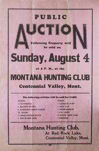 image of Public Auction...Sunday August 4..at the Montana Hunting Club