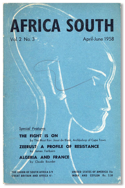 Cape Town: African South Publications, 1958. First Edition. Octavo (21cm.); publisher's teal pictori...
