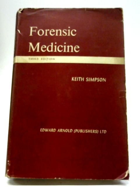 Forensic Medicine By Keith Simpson 1958