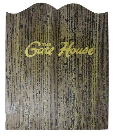 (n.p.), 1940. 1st P.. Wood panels to make a tri fold menu. White paper glued to inside with menu ite...