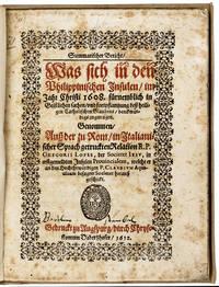 GOOD NEWS FROM THE PACIFIC IN GERMAN IN 1612Summarischer Bericht, Was sich in den Philippinischen Insulen ... zugetragen.