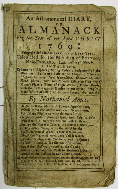 Boston: Printed and Sold by the Printers and Booksellers, 1768. 12mo. 12 leaves (complete), stitched...