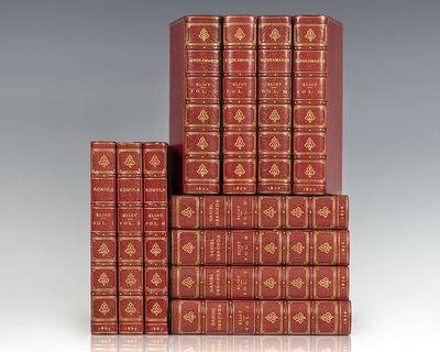 London: Houghton Mifflin Company, 1863-1876. First editions of Eliot's Romola, Middlemarch and Danie...