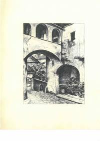 Ohne Titel [Innenhof, Torbogen, Veranda], ca. 1950. Schwarze Tusche und Bleistift auf weißem Maschinbütten.
