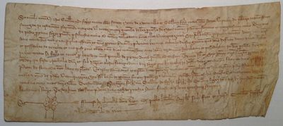 Barcelona, 1369. unbound. 1 page manuscript document on vellum with 13 lines written in a fine chanc...