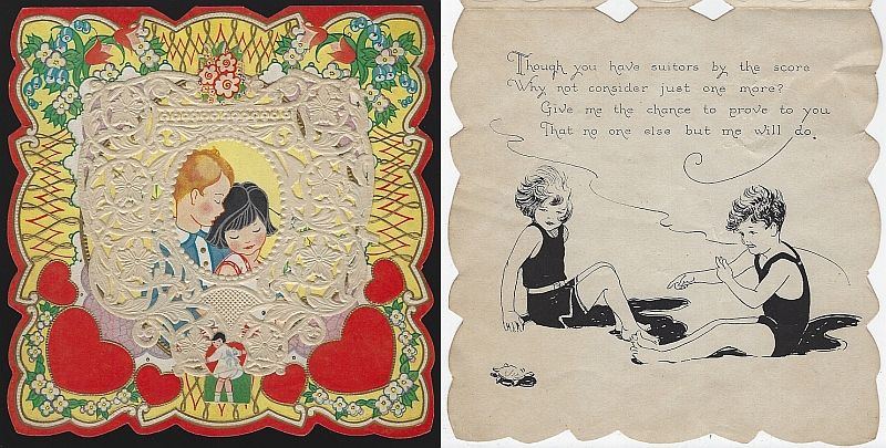 VINTAGE VALENTINE CARD LACE OVERLAY WITH BOY AND GIRL, Valentine