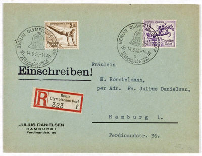 Berlin: Deutsche Reichspost, 1936. Softcover. vg. Complete set of 8 Olympic stamps on three letters ...