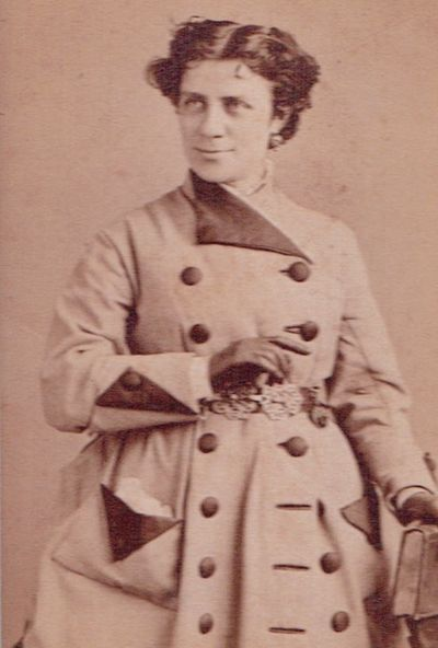 Dickinson, Anna Elizabeth (1842-1932), Full-length photographic portrait carte-de-visite, with two s...