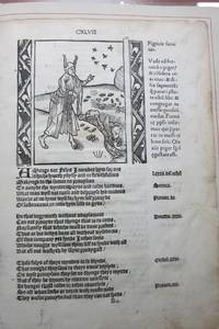 image of AN ORIGINAL LEAF FROM THE FIRST EDITION OF ALEXANDER BARCLAY'S ENGLISH TRANSLATION OF SEBASTIAN BRANT'S SHIP OF FOOLS, PRINTED BY RICHARD PYNSON IN 1509.  WITH AN ESSAY BY JAMES D. HART