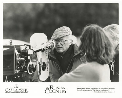 Culver City, CA: Columbia Pictures, 1995. Vintage reference photograph of director Peter Yates on th...