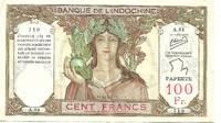 Tahiti # 14c (Papeete, French Polynesia) 100 Franc Banknote (1939 Series)
