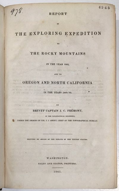 Washington DC: Gales & Seaton, 1845. First Edition, Senate Issue. 693pp. Octavo Brown cloth with bli...