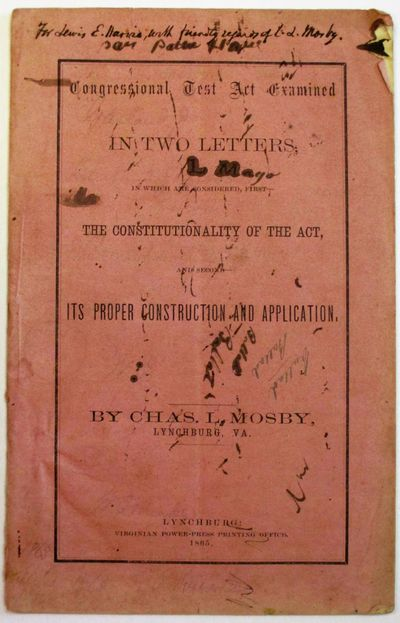 Lynchburg: Virginian Power-Press Printing Office, 1865. 23, pp. Stitched in original printed pink ti...