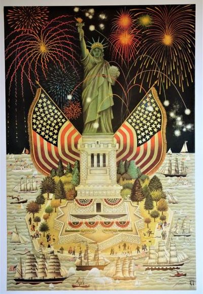 San Francisco: Sales Corp. Of America, 1985. SCARCE. This fantastic Statue of Liberty poster by Lowe...