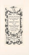 View Image 1 of 2 for Anacreon, done into English out of the original Greek by Abraham Cowley and S.B. 1683, newly embelli... Inventory #38849