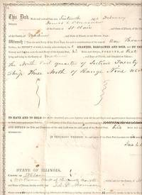 DEED FOR LAND IN MADISON COUNTY, ILLINOIS, SOLD BY JAMES L. MORRISON TO ISAAC HARKLEROAD FOR $1,000, SIGNED 16 FEBRUARY 1859