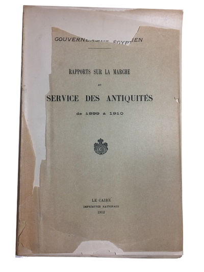 Le Caire: Imprimerie Nationale, 1912. Paperback. Fair. xliv, 342p. Softcover, lacking almost all of ...