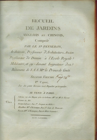 Paris: Chez l'auteur, 1783. Full Calf. Very Good. 4to (27.0 x 20.5 cm), Contemporary decorative calf...