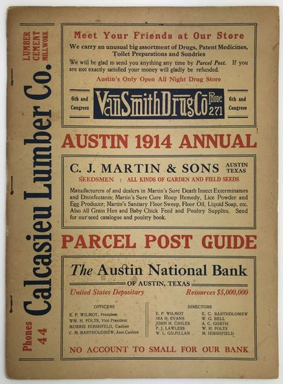 Austin, 1914. Very good.. 32pp. Folio. Original printed card covers, stapled. Some light wear and so...