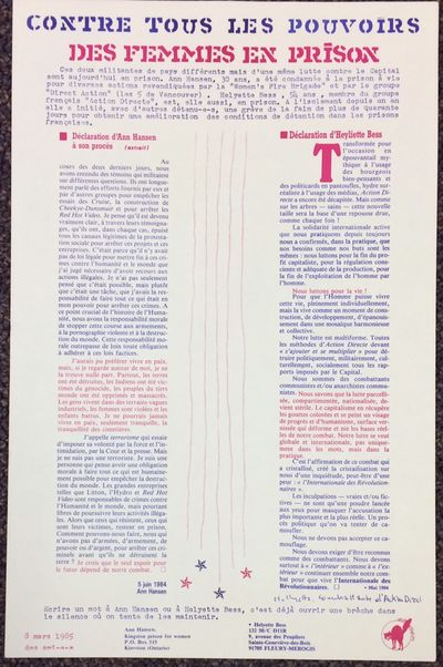 : Subversion, 1985. 11x17 inch poster, faint horizontal fold crease, otherwise very good. Text in Fr...